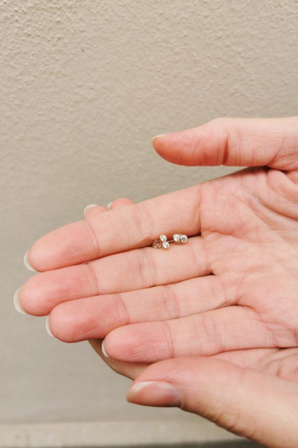 boucle d'oreille plaqué or et strass accessoires bijoux made in france