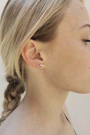 Boucles d'oreilles puces strass plaqué or